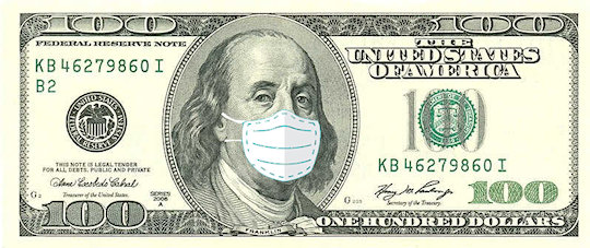 ben franklin with covid mask